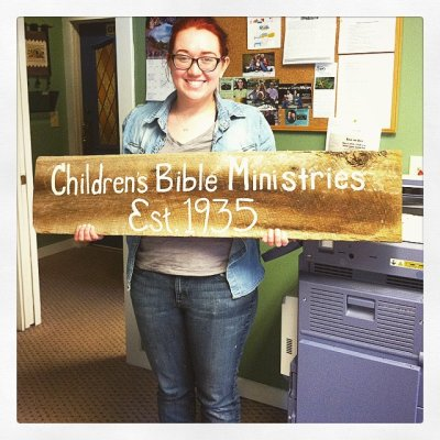 Sarah with CBM sign